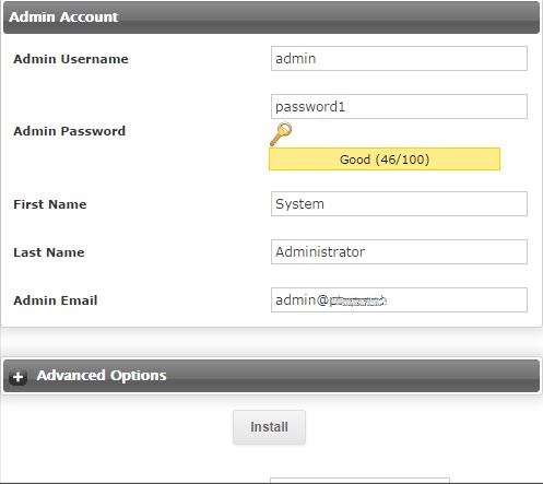 Instalar Magento - Conta de Admin