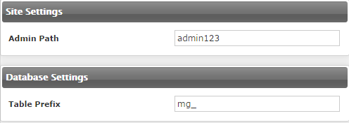 Instalar Magento - Site e db Settings